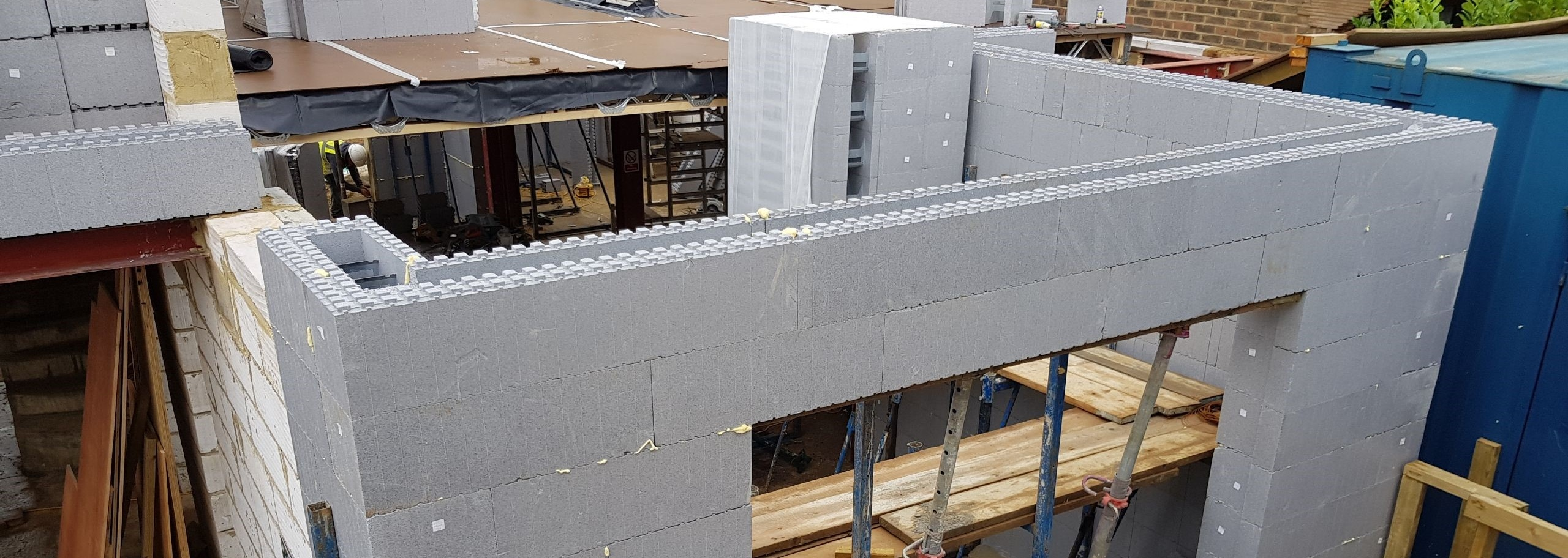 ICF walls erected during construction - ThermoHouse