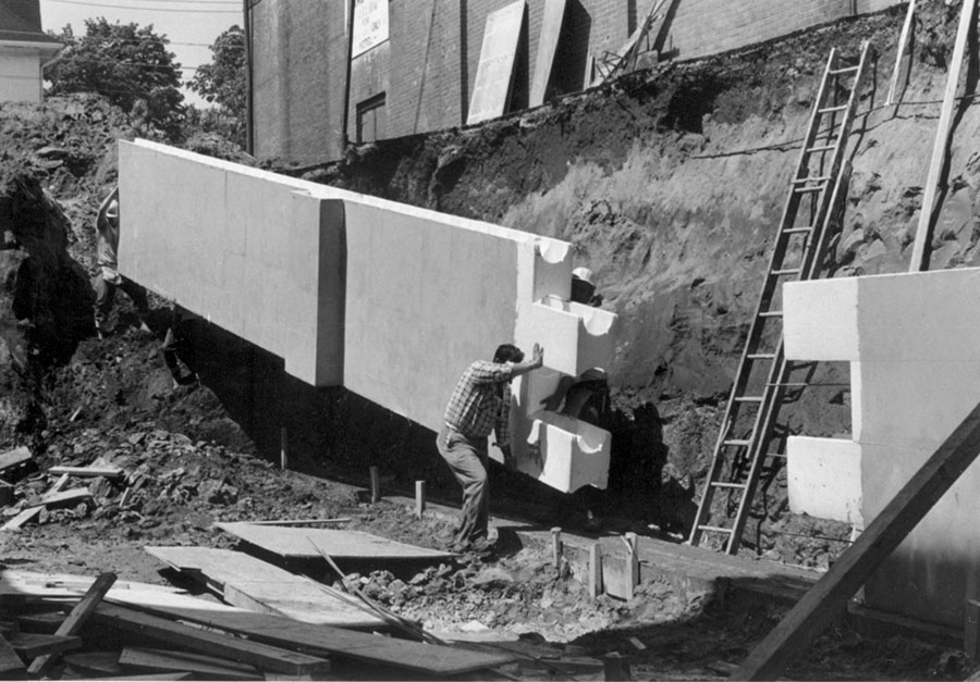 This is a photograph of old ICF blocks being installed