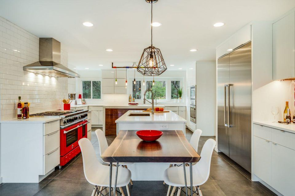This is an image of kitchen design pop of colour