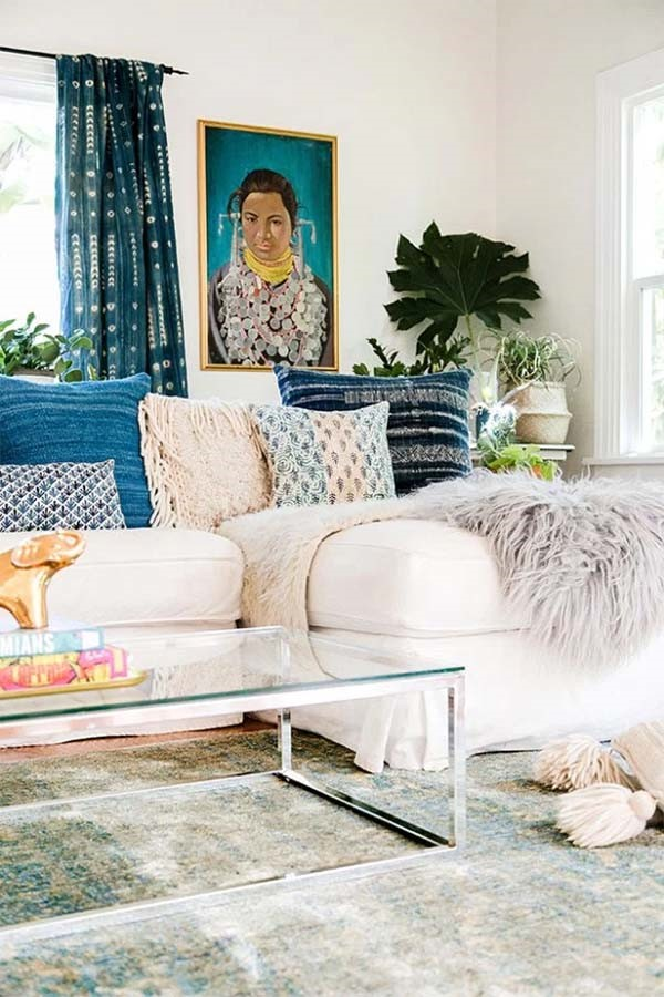 This is an image of a boho style interior