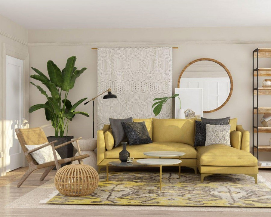This is an image of layered textures in a living room
