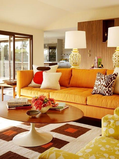 This is an image of a seventies style living room