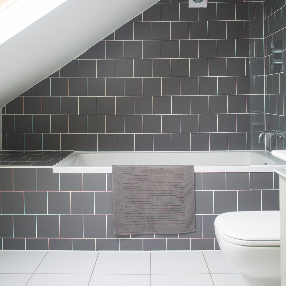 This is an image of white grout in a bathroom