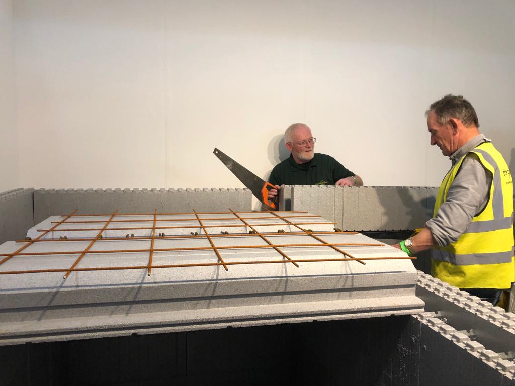 This is an image of The Thermohouse team setting up our display