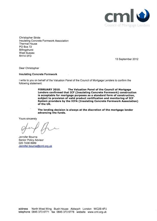 This is an image of ICFA CML mortgage letter