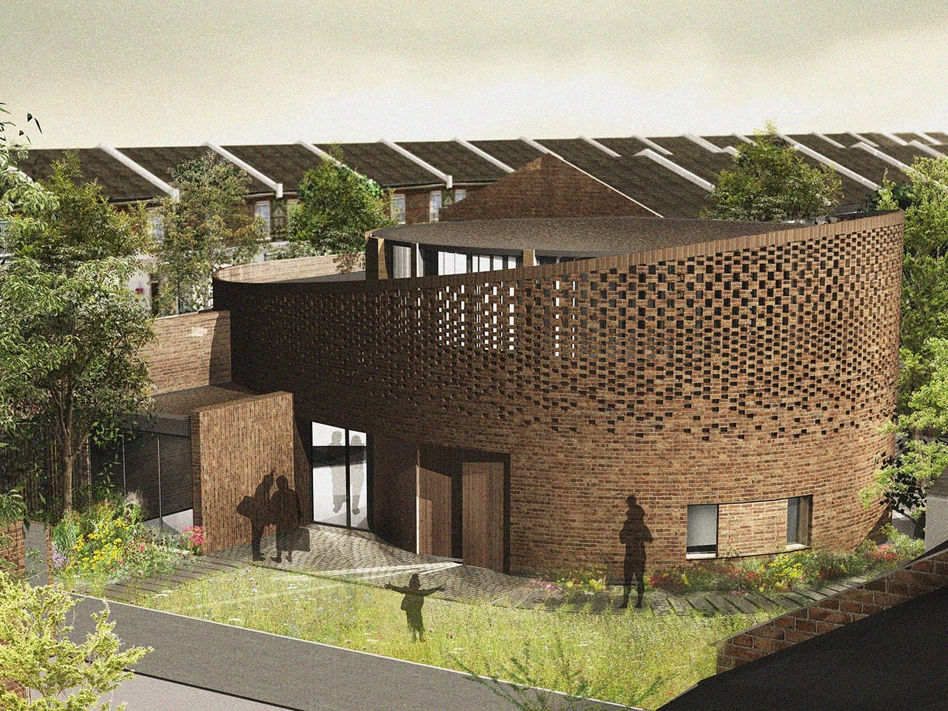 Architects 3D render of the rear of an ICF Building in Hammersmith