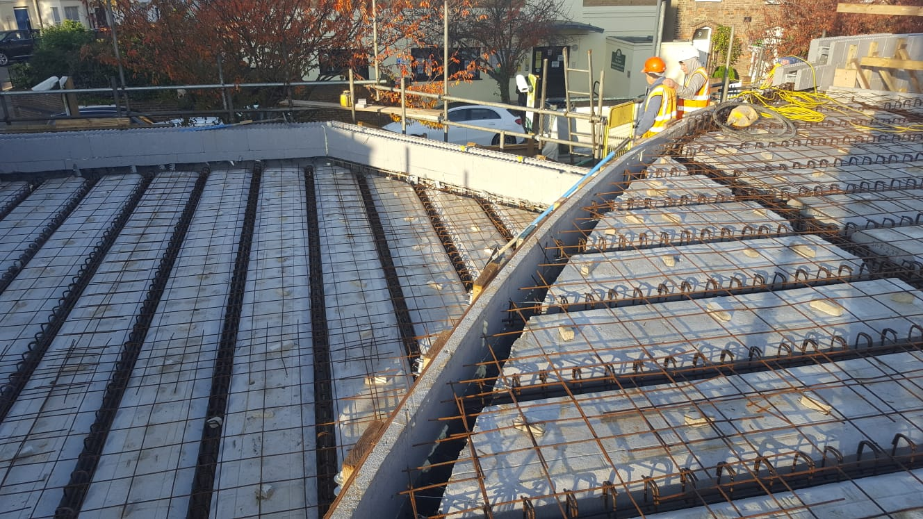 Insulated flat roof under construction in ICF building in Hammersmith