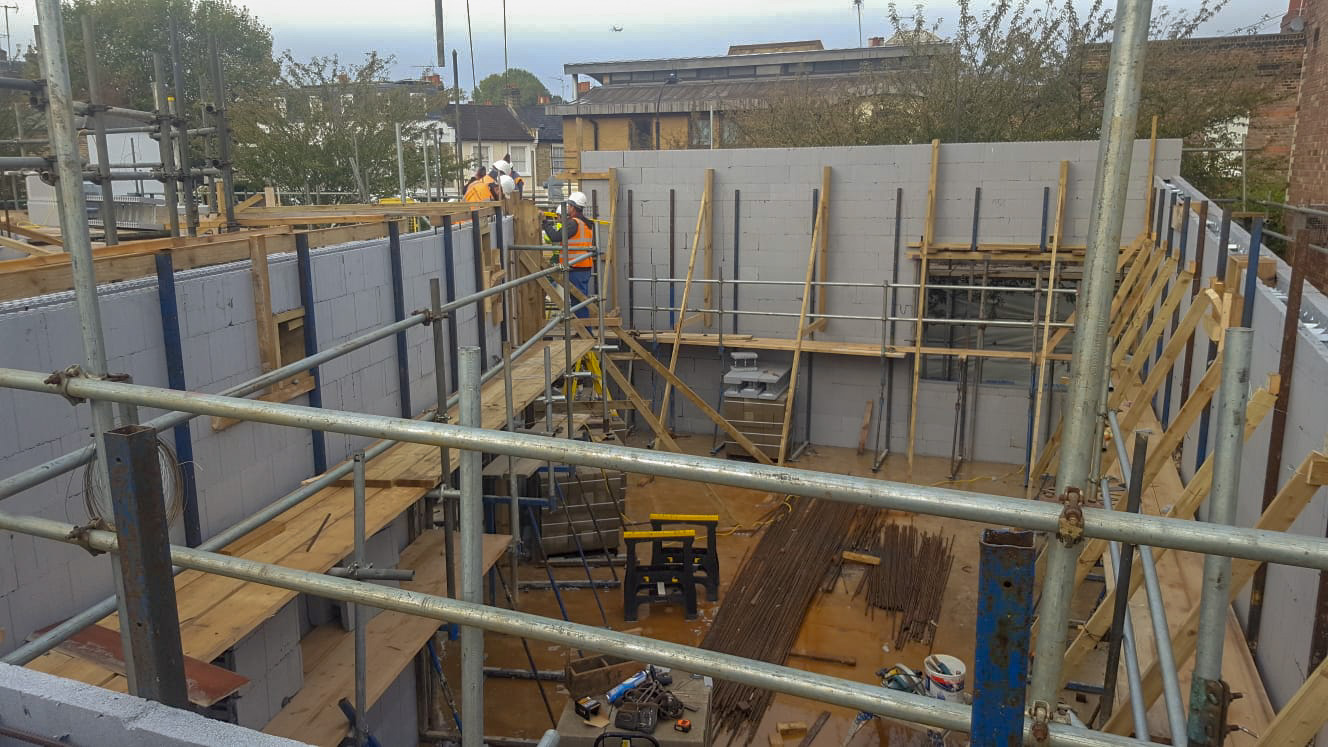 Ground floor walls being constructed in an ICF building in Hammersmith