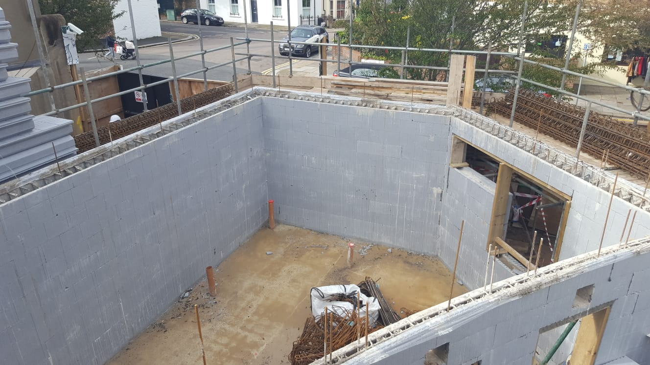 Ground floor ICF walls filled with concrete at new build in Hammersmith