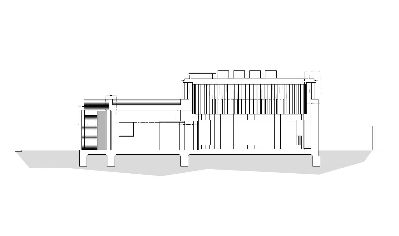 Architect's section drawing of an ICF building in Hammersmith